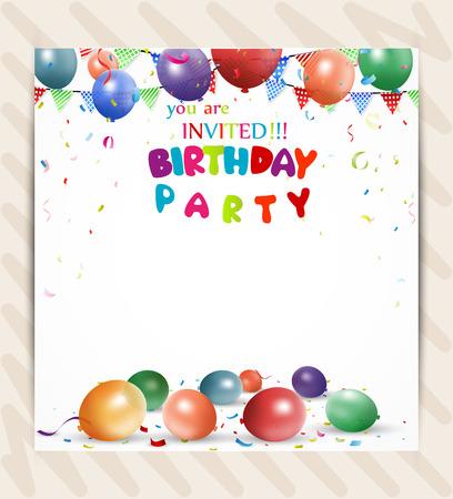 Birthday invitation card Vectores
