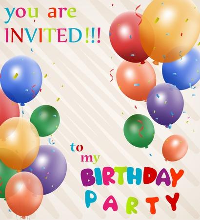 globos de cumpleaños: Fondo de la invitación del cumpleaños