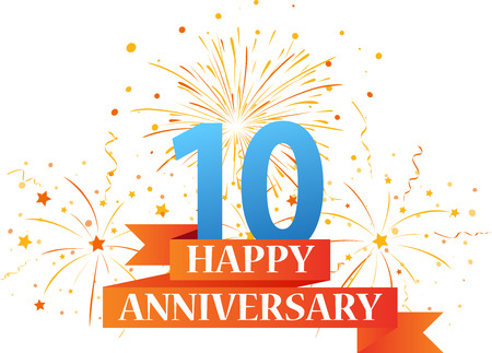 Happy anniversary celebration with fireworks