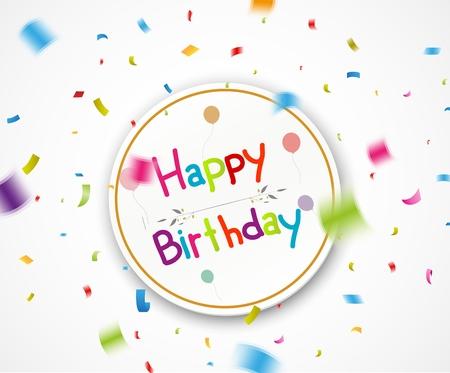 felicitaciones cumpleaÑos: saludos del feliz cumpleaños con la caída de confeti Vectores
