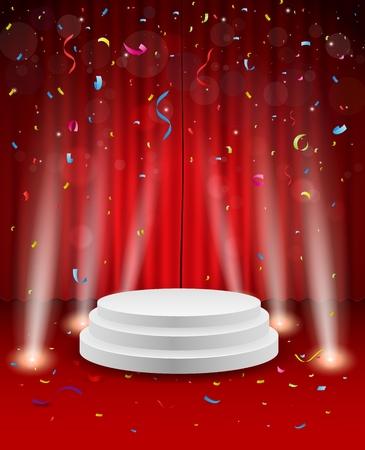 Stage achtergrond met confetti en licht Stock Illustratie