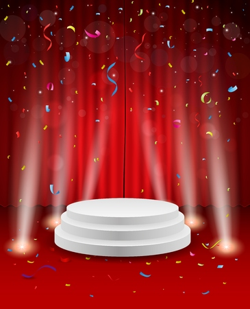 curtain: Stage background with confetti and light