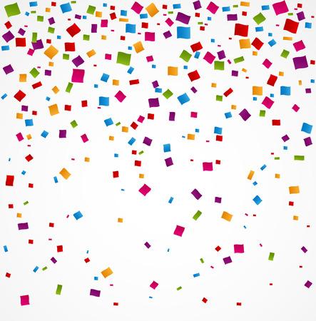 festa: Confetes coloridos sobre fundo branco Ilustração