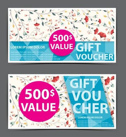 label design: Floral gift voucher certificate coupon Illustration