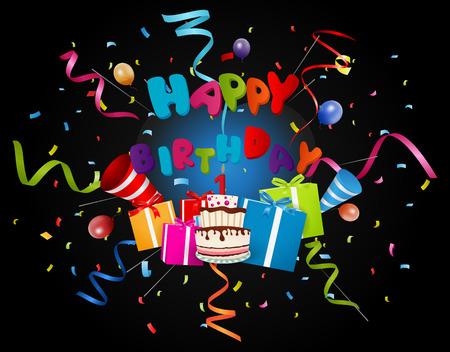 confetti: birthday background with confetti and cake Illustration