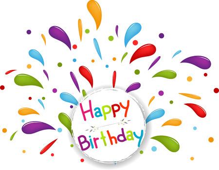 Happy birthday background with confetti Illustration