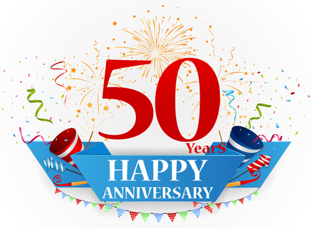50 years jubilee: Happy anniversary celebration design Illustration