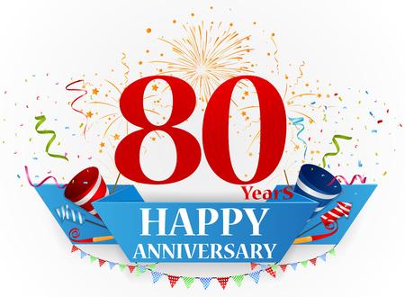 80 years: Happy anniversary celebration design Illustration