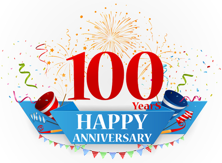hundred: Happy anniversary celebration design Illustration