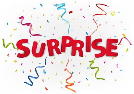 banner background: Surprise message with colorful confetti