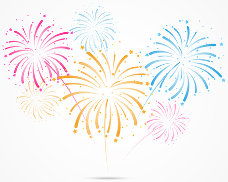 bursting fireworks with stars and sparks Illustration