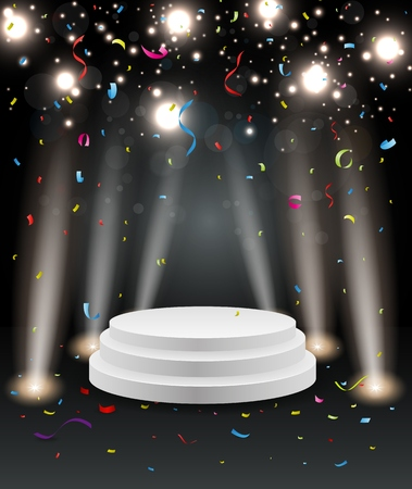 stage projector: Podium with light and colorful confetti
