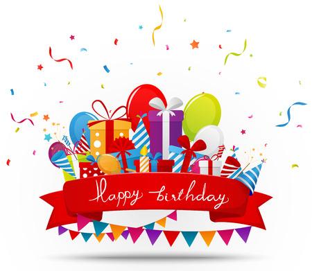 elementos de la celebración del cumpleaños con la cinta roja