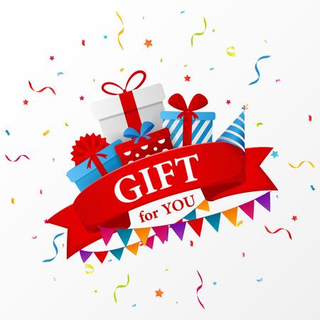 birthday present: Birthday gift celebration with red ribbon