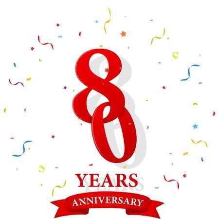 80 Anniversary celebration with confetti Ilustração