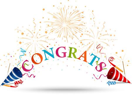 congratulations: Felicidades celebración con fuegos artificiales