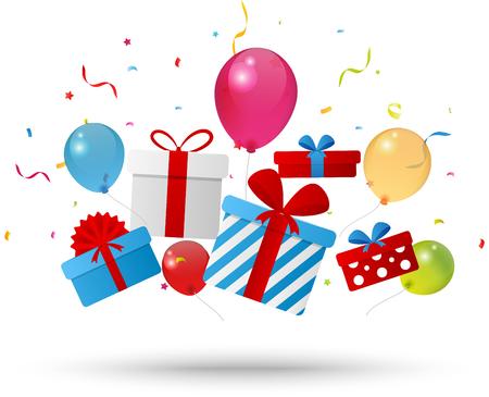 Birthday gift box with confetti