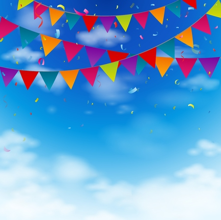 Celebration bunting flags on blue sky