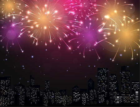 album: Beautiful Fireworks display with city skyline Illustration