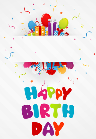 welcoming party: Birthday greeting card with gift box and confetti