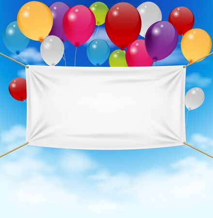 welcome: Colorful balloons with textile banner
