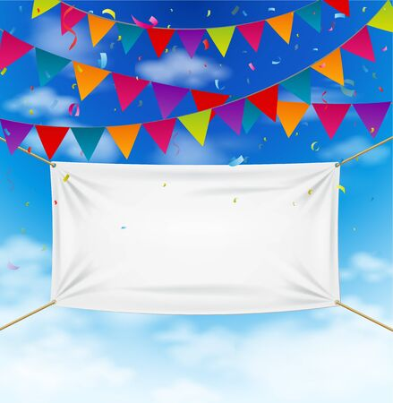 free backgrounds: Colorful bunting flags with textile banner