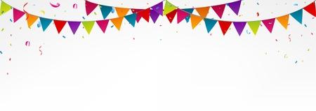 bandera: golpean indicadores de cumpleaños, con confeti Vectores