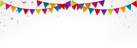 Birthday bunting flags, with confetti
