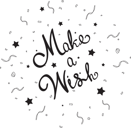 make a gift: Make a wish lettering with confetti Illustration