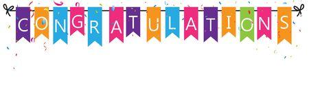 Gratulation mit Bunting Fahnen