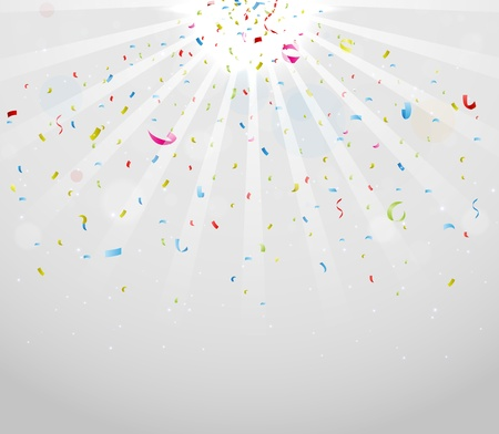 trumpery: Colorful sparkling confetti on gray background Illustration