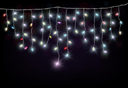 string of christmas lights: Colorful Christmas light Illustration