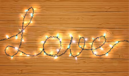 christmas light: Christmas light on love sign with wooden background Illustration