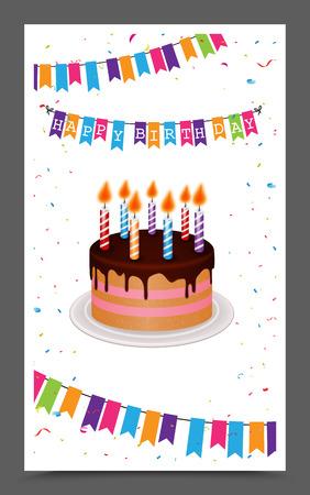 pastel de cumpleaños: saludo de cumpleaños y el diseño de la tarjeta de la invitación Vectores