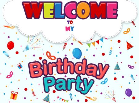 invitacion fiesta: Tarjeta de invitación de cumpleaños con iconos del partido Vectores