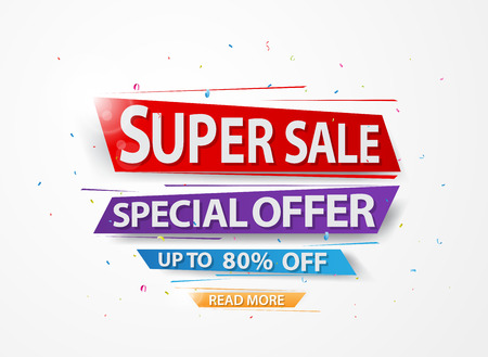 Super Sale and special offer paper with confetti