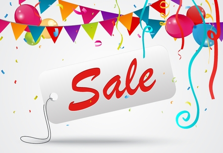 business event: Sale banner celebration background with confetti and ribbon