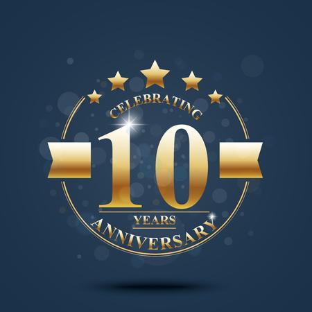 anniversary celebration: Happy anniversary celebration on Gold design