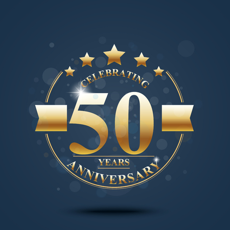 gold age: Happy anniversary celebration on Gold design