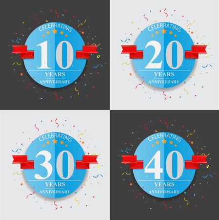 30 years: Happy anniversary celebration on folded paper sign and symbol Illustration