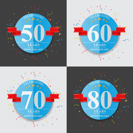 folded paper: Happy anniversary celebration on folded paper sign and symbol Illustration