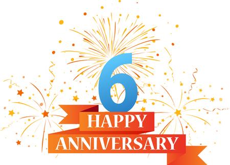 anniversary celebration: Happy anniversary celebration with fireworks