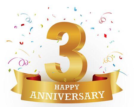 Happy anniversary celebration with confetti