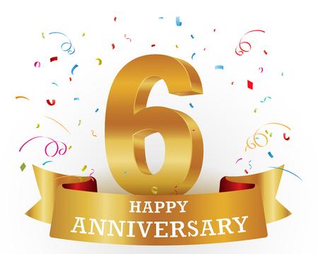 gold age: Happy anniversary celebration with confetti