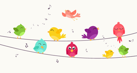 telegraph: Colorful birds sitting on wire
