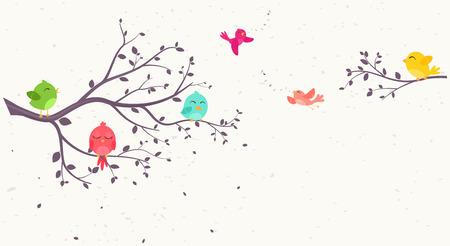 Coloridos pájaros en los árboles hermosos Foto de archivo - 58403064