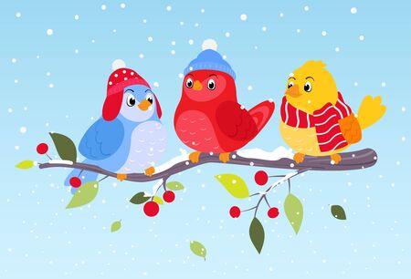 winter scene: Colorful birds on winter scene