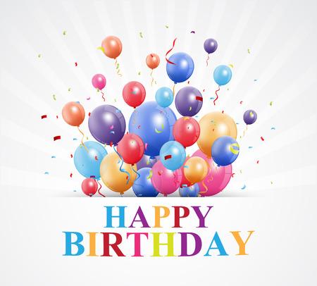 felicitaciones cumpleaÑos: saludos feliz cumpleaños con globos y confeti Vectores