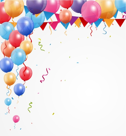 birthday greetings: Happy Birthday greetings with balloon and confetti Illustration