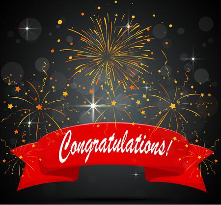 congratulations: Felicidades celebración con fuegos artificiales y confeti